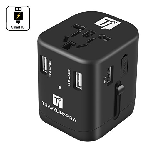 Universal Travel Power Adapter - 4 Smart Power USB Charging Ports, International Worldwide AC Wall Outlet Plug Charger - All in One for US, UK, Europe, AUS & Asia