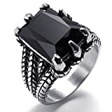 KnSam Stainless Steel Rings Men's Bands Gothic Dragon Claw Biker Black Silver Size 13
