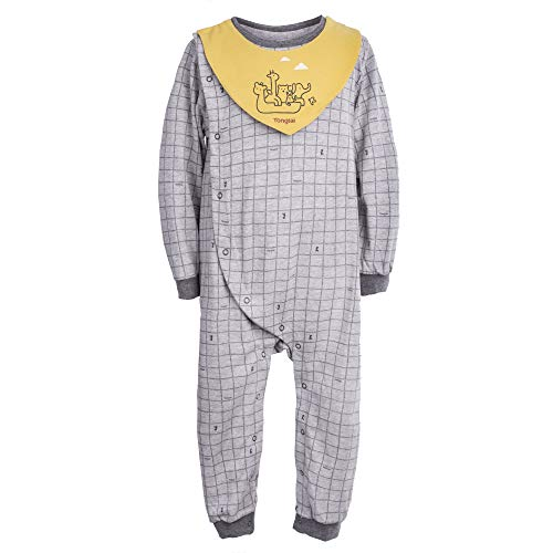 Baby Long Sleeve Kimono Shirt Checkered Pajamas with Bib Burb Towel Baby Romper Jumpsuit 100% Organic Cotton 18 Month Size Grey