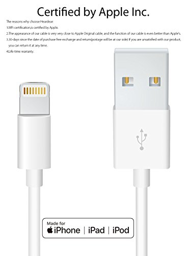 Apple iPhone/iPad charging/charger Cord/Line Heardear Lightning to USB Cable[Apple MFi Certified]for iPhone X/8/7/SE/6s/6/plus/5s/5c,iPad Pro/Air/Mini,iPod touch,Nano(White 3.33FT)Original Certified