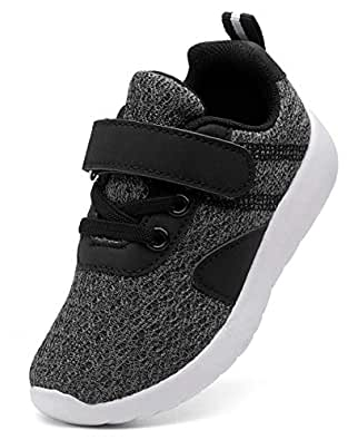 DADAWEN Boy's Girl's Lightweight Breathable Sneakers Strap Athletic Running Shoes Gray US Size 11.5 M Little Kid
