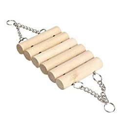Cute Wooden Toys Mouse Hamster Parrot Hanging Ladder Bridge Cage (Type 1)