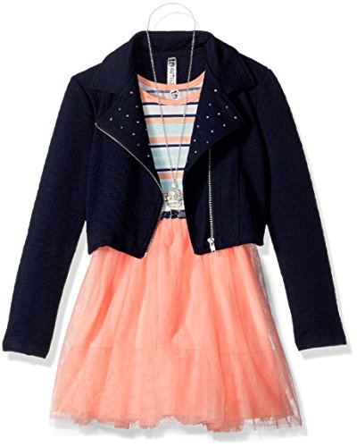 Beautees Big Girls' 2 Pc. Moto Jacket with Studs Over Mul...