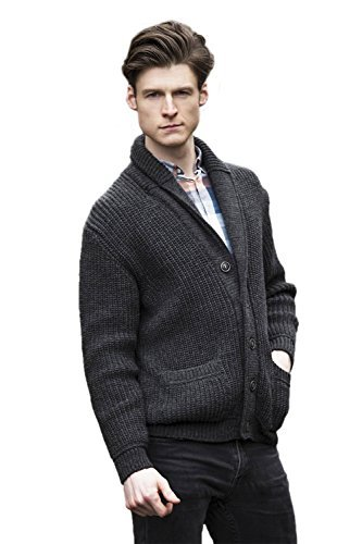 West End Knitwear Two Tone Ribbed Wool Shawl Collar Cardigan (X-Large)