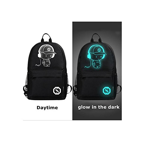 Anime Luminous Backpack Noctilucent School Bags Daypack USB chargeing port Laptop Bag Handbag For Boys Girls Men Women (Black-Music boy)