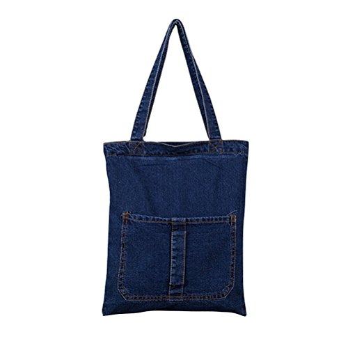 Yiuswoy Freizeit Denim Tasche Handtasche Strand Taschen Shopper Umhängetasche Retro College Schule Tasche Für Mädchen Damen - Dunkel Blau 1 Tasche Dunkel Blau 1 Tasche