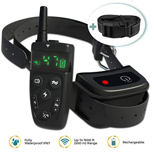 TBI Pro 2019 Dog Shock Training Collar with Remote | Long Range up to 1600 ft, Shock/Vibration Control, Rechargeable & IPX7 Waterproof | E-Collar Headcollar for Small, Medium and Large Dogs, Breeds