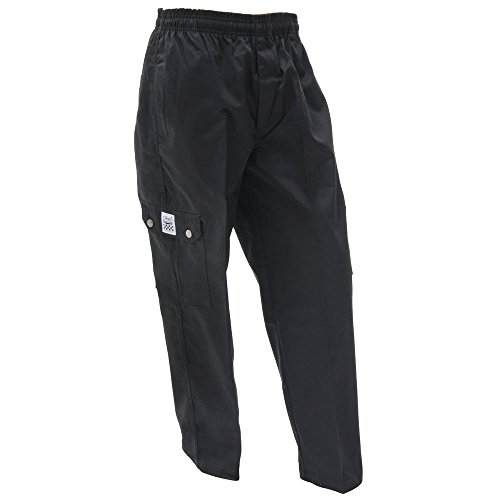 Chef Revival Cargo Chef Pants Black Poly Cotton Men's Baggy - Large (Revival Clothing Chef)