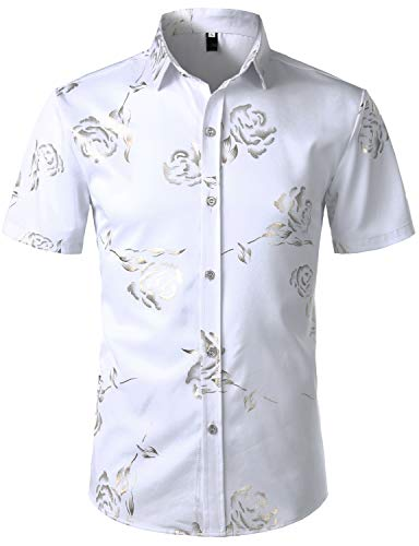 Hipster Gold - ZEROYAA Mens Hipster Gold Rose Printed Slim Fit Short Sleeve Button Down Dress Shirts ZZCL41 White XX-Large