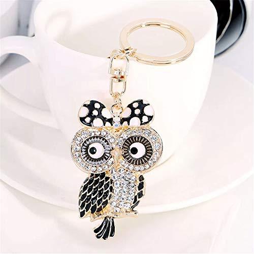 GH8 Kawaii Cute Rhinestone Ms. Owl Shape As Charms Car Key Chains Key Ring Tassels Keyring Keychains linnor Women Bag Charms DIY (Black) ()