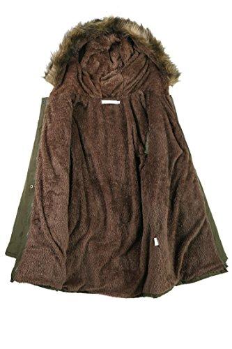 Femmes Fourrure Chaude Hiver Epaissir avec Arm Manteau ANGVNS Compressible Capuche vqxPH6v