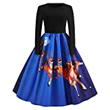 2018��Christmas Women's Holiday Vintage Black Evening Prom Costume Swing Dress,Girls 3/4 Sleeves Back Zipper Novelty Dress