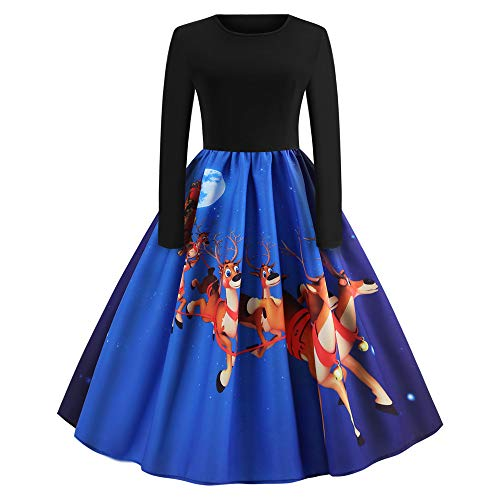 GREFER Women Long Sleeve Dress Vintage Pumpkins Halloween Evening Prom Costume Swing Dress (S, H-Blue) ()