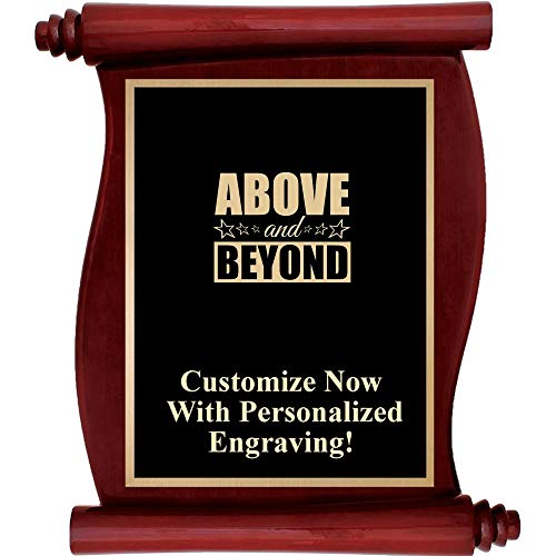 Plaque Rosewood Engraved - Custom Engraved Rosewood Scroll Plaques, Personalized Recognition Plaque Award with Up to 5 Lines of Engraving Included Prime