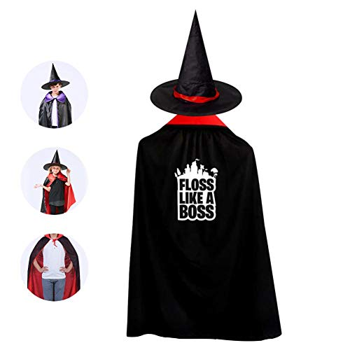Floss Like A Boss For-Tnite Kids Halloween Witch Wizard Cloak Hat Cape Cosplay Costumes For Boys&Girls ()