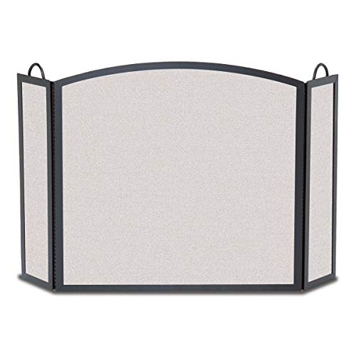 (Pilgrim Home and Hearth Pilgrim 18204 Full Arch Solid Wrought Iron Fireplace Screen 3 Panel, Medium-46W x 32.5H inches, Matte Black)