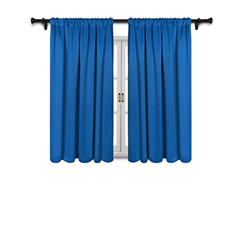 SUO AI TEXTILE Thermal Insulated Curtain Rod Pocket Blackout Curtains for Windows 52x63 Inch Royal Blue 2 Curtain ()