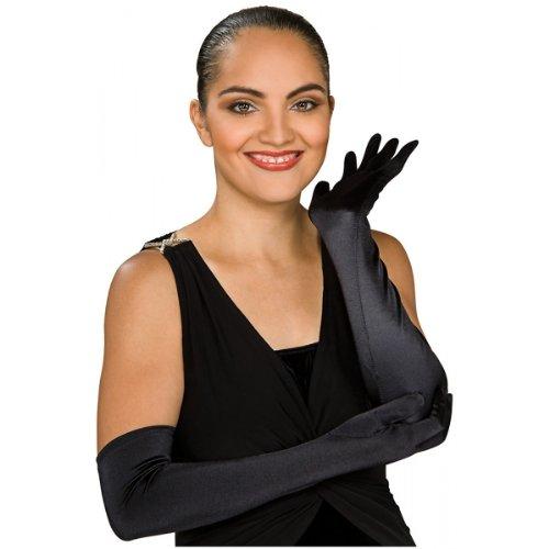 (Secret Wishes Black Stretch Satin Opera Costume Gloves, Black, One)