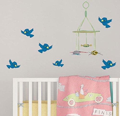 Create-A-Mural Cute Blue Bird Wall Decals for Kids ~ 5