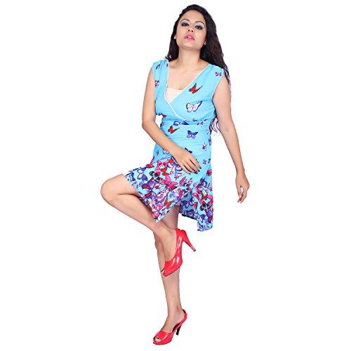 SUNROSE - Camisola - envolvente - Manga corta - para mujer azul celeste