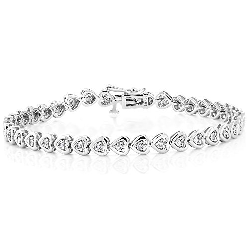 925 Sterling Silver Diamond Heart Shape Women's Bracelet Fits Up 7 Inch Wrist