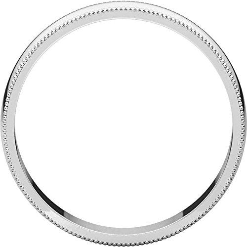 Mens 10K White Gold 4mm Light Milgrain Half Round Wedding Band Ring