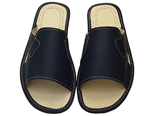 Bawal Genuine Mens Black Beige Blue Leather Slippers Slip-On Shoes Gift Box (Optionally) Modell XC55 Blue