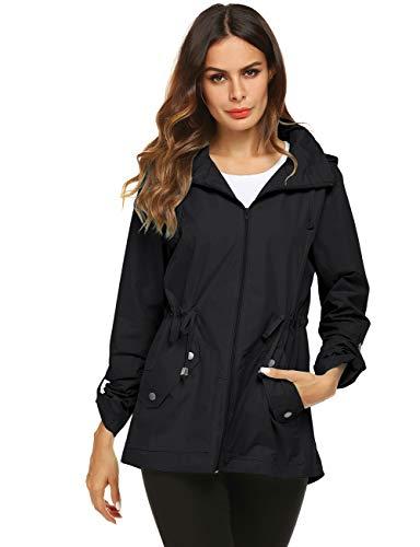 Avoogue Anorak Rain Jacket Women 80S Essential Trench Coat Black Small (Best Outdoor Coats For Women)