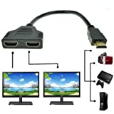 look see HDMI Male to Dual HDMI Female 1 to 2 Way HDMI Splitter Adapter Cable for HDTV, Support Two TVs at The Same Time, Signal One in, Two Out(Black)