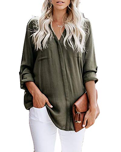 - Beautife Womens Short Sleeve Shirts V Neck Collared Button Down Shirt Tops with Pockets (Small, Z-Army Green)