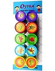 Oytra 10 Piece/Set Stamps Dinosaur Animal Red Ink Stamping for Art Craft Scrapbooking Kids Boys Girls Gift