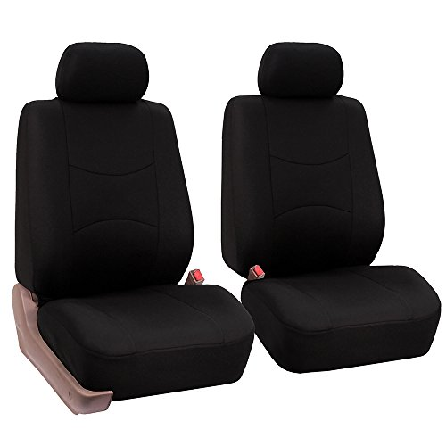 FH Group Universal Fit Flat Cloth Pair Bucket Seat Cover, (Black) (FH-FB050102, Fit Most Car, Truck, Suv, or Van) (Best Bucket Seat Covers)