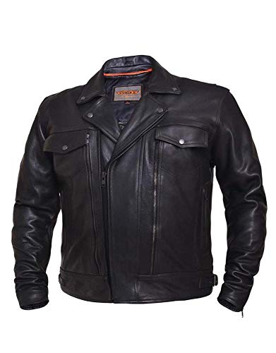 Ultra Men's Cruiser Motorcycle Leather Jacket,Black,Size - Small