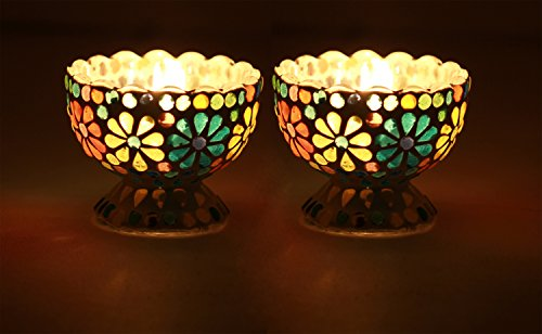 SouvNear Set of 2 Tealight Candle Holder - Handmade Mosaic Glass Votive Candle Holders - Colorful Centerpiece Tea Light Holders - New Gift Ideas for Home (Glass Centerpieces Ideas)