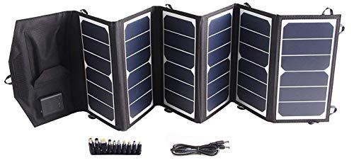TOPDC 39W Solar Panel Charger Portable Waterproof SunPower Solar Charger (5V USB + 18V DC) for Cell Phone
