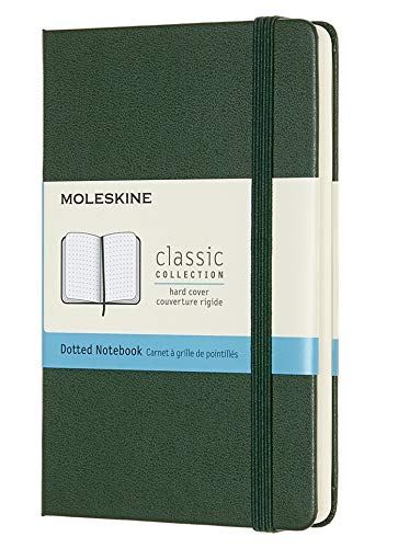 """Moleskine Classic Notebook, Hard Cover, Pocket (3.5"""" x 5.5"""") Dotted, Myrtle Green, 192 Pages"""