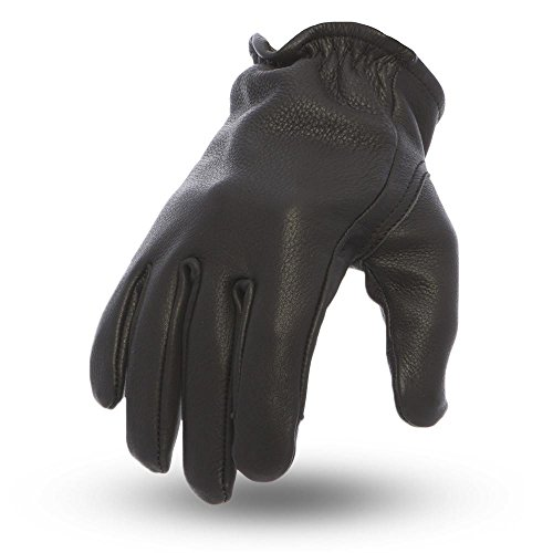 First Manufacturing FI211-Black-M-Roper Men's Roper Leather Motorcycle Touch Tech Finger Gloves (Black, Medium), 1 Pack (Motorcycle Naked Gloves Leather)
