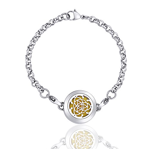 Anavia Mini Aromatherapy Diffuser Linked Lobster Bracelet + 12 Pad Surgical Grade Stainless Steel Jewelry (Celtic Knot)