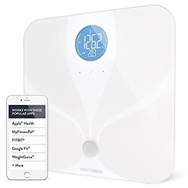Weight Gurus Wifi Smart Connected Body Fat Bathroom Scale w/ Backlit LCD, ITO Conductive Surface Technology with Accurate Precision Health Measurements