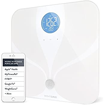 Wifi Smart Connected Body Fat Bathroom Scale by Weight Gurus, Backlit LCD, ITO Conductive Surface Technology, Accurate Precision Health Alerts, Measurements, and Monitoring