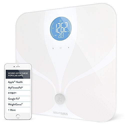 Wifi Smart Connected Body Fat Bathroom Scale by Weight Gurus, Backlit LCD, ITO Conductive Surface Technology, Accurate Precision Health Alerts, Measurements, and Monitoring by Greater Goods