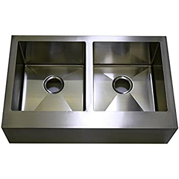Auric Sinks 33 Farmhouse Front Apron Double Bowl Sink 16 Gauge Stainless Steel 50 50 Split 6 Sfar 16 33 5050