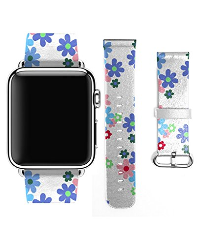 Genuine Leather iwatch Colorful Flowers