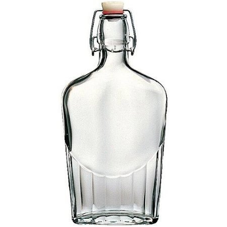 Glass Hip Flask (Bormioli Rocco Pocket Flask, 8.5 oz, Clear)