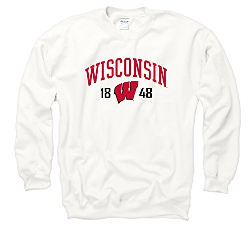 Campus Colors Wisconsin Badgers Adult Royalty White Out Crewneck - White, ()