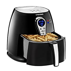 Chefman Air Fryer with Digital Display Adjustable Temperature Control for the Perfect Result in Frying a Variety of Food, Cool-Touch Exterior and 2.5L Fryer Basket Capacity, Black