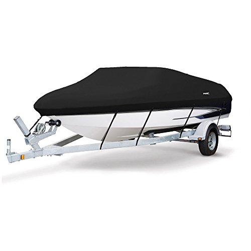 MSC Heavy Duty 600D Marine Grade Polyester Canvas Trailerable Waterproof Boat Cover,Fits V-Hull,Tri-Hull, Runabout Boat Cover (Black, Model C - Length:16'-18.5' Beam Width: up to 94