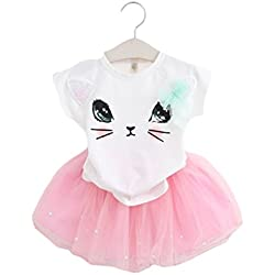 BANGELY Kids Girls Cute Animal Cat Print Short Sleeve T-shirt Tulle Tutu Skirt Set,5T/120cm,Pink