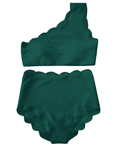 High Waisted Swimsuit Two Piece Bikini Set Vintage Women Off Shoulder Elastic Swimwear (XL, Green)