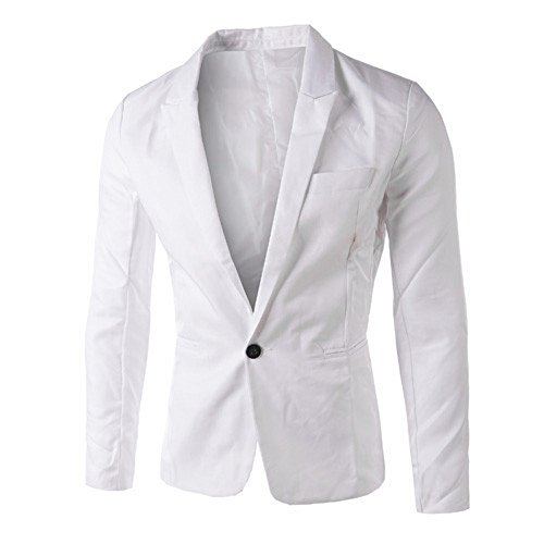 GOVOW Suits for Men Classic Fit Charm Casual Loose Soft Slim One Button Blazer Coat Jacket Tops(L,White) from GOVOW